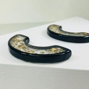 CLOSET REHAB Jewelry - 🆑 Half Circle Gold Flake with Black Edge Studs